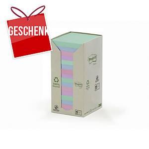 3M Post-it® 654 Haftnotizen recycelt, 76 x 76mm, bunt, 16 Blöck/100 Blatt