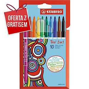 Flamastry i cienkopisy STABILO Trio 2 w 1, etui 10 kolorów