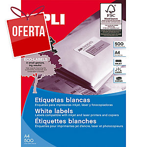 Caixa de 1600 etiquetas autocolantes APLI 1274 cantos rectos 105x37mm brancas