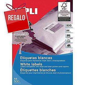 Caja de 100 etiquetas adhesivas Apli 1281 - 210 x 297 mm - blanco