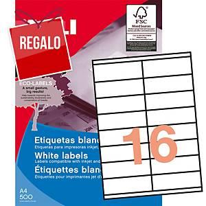 Caja de 1600 etiquetas adhesivas Apli 1287 - 105 x 35 mm - blanco
