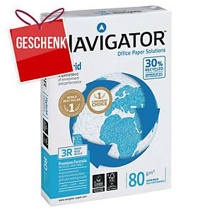 Kopierpapier Navigator Hybrid A4, 80g/m2, 30% Recycling, weiss, Pack à 500 Blatt