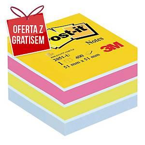 Karteczki samoprzylepne Post-it mini-Kostka, mix kolorów, 51x51mm, 400karteczek