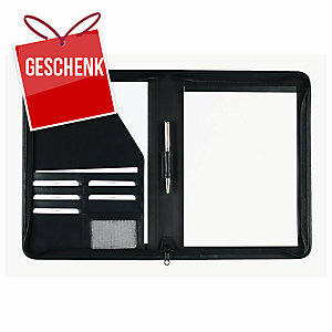 Schreibmappe idé fashion, A4, mit Reissverschluss, schwarz