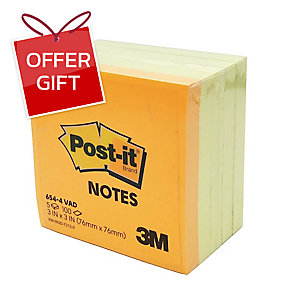 POST-IT 654-4VAD NEON NOTES 3   X 3   - 4 YELLOW AND 1 NEON - PACK OF 5