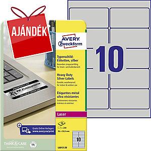 Avery L6012-20 poliészter ezüst etikettek 96 x 50,8 mm, 10 etikett/ív, 20 ív