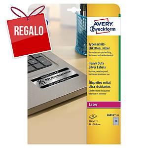 Pack de 200 etiquetas adhesivas Avery L6012-20 - 96 x 50,8 mm - plata