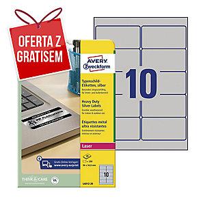 Etykiety znamionowe Avery Zweckform, 96 x 50,8 mm, srebrne, 200 etykiet