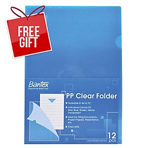 BANTEX PP BLUE A4 L SHAPE FOLDER - PACK OF 12