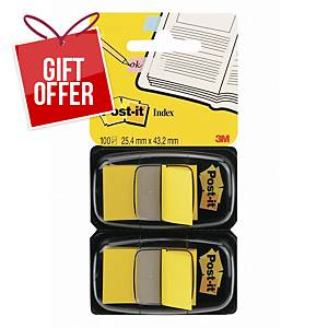 Post-It Index Dual Pack 25 X 44mm Yellow - 2 Dispensers of 50