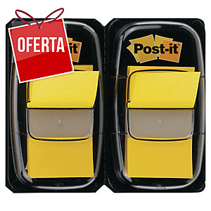 Pack 2 dispensadores Post-it index 1   cor amarelo, 50 marcadores por dispens