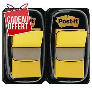 Marque-pages Post-it standard avec distributeur - jaune - 2 x 50 feuilles