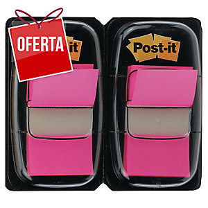 Pack 2 dispensadores Post-it index 1   cor rosa, 50 marcadores por dispensador