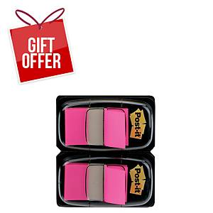 Post-It Index Dual Pack 25 X 44mm Pink - 2 Dispensers of 50