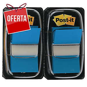 Pack 2 dispensadores Post-it index 1   cor azul, 50 marcadores por dispensador