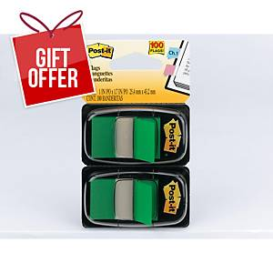 Post-It Index Dual Pack 25 X 44mm Green - 2 Dispensers of 50