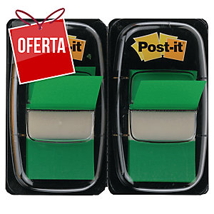Pack 2 dispensadores Post-it index 1   cor verde, 50 marcadores por dispensad
