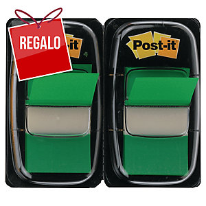 Pack 2 dispensadores Post-it index 1   color verde, 50 marcadores por dispensad