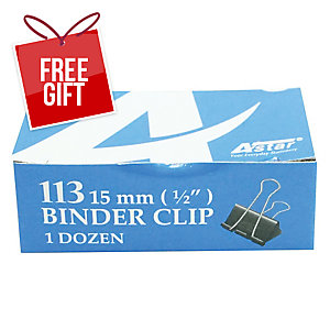 BLACK BINDER CLIPS 15MM - BOX OF 12