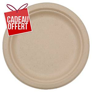 Assiette en bagasse Duni ecoecho - compostable - 22 cm - naturel - paquet de 50