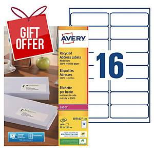 Avery LR7162 laser labels recycled 99,1x33,9mm - box of 1600