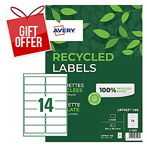 AVERY LR7163-100 100% RECYCLED LASER ADDRESSING LABELS 99.1X38.1MM - BOX OF 100
