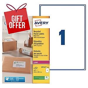 Avery LR7167 laser labels recycled 199,6x289,1mm - box of 100