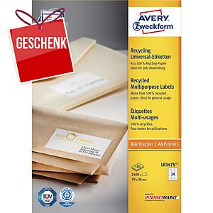 Avery recycelte Universal-Etiketten, 70 x 36 mm, 24 Etiketten/Blatt