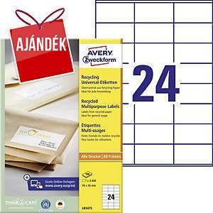 Avery LR3475 újrahasznosított etikettek 70 x 36 mm, 24 etikett/ív, 100 ív/csomag