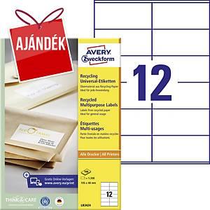 Avery LR3424 újrahasznosított etikettek 105 x 48 mm, 12 etikett/ív, 100 ív/csom