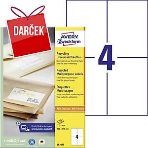 Recyklované univerzálne etikety Avery, 105 x 148 mm, 4 etikety/hárok