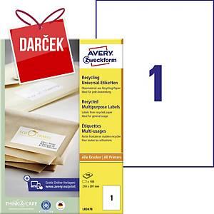 Recyklované univerzálne etikety Avery, 210 x 297 mm, 1 etiketa/hárok