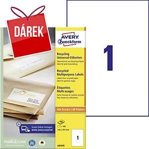 Recyklované univerzální etikety Avery, 210 x 297 mm, 1 etiketa/list