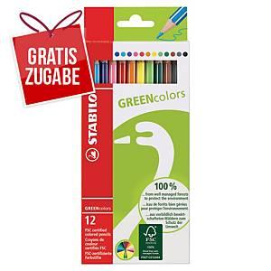 Farbstift Stabilo Greencolour 6019, sortiert, 12 Stück