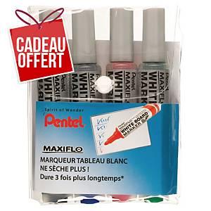 Marqueur tableau blanc Pentel Maxiflow - pointe ogive large - 4 coloris