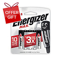 ENERGIZER MAX E92 ALKALINE BATTERIES AAA PACK OF 8