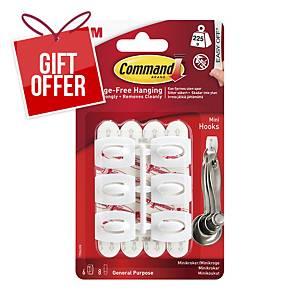 Command Mini Hook Adhesives - Pack 6