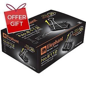 ELEPHANT E112 DOUBLE CLIPS 19MM BLACK - BOX OF 12