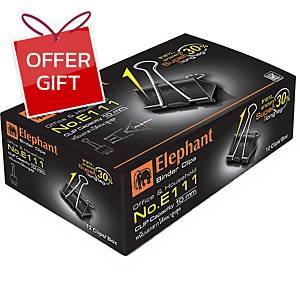 ELEPHANT E111 Double Clips 25mm Black - Box of 12