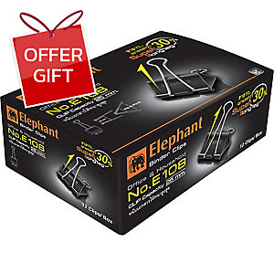 ELEPHANT E108 DOUBLE CLIPS 50MM BLACK - BOX OF 12