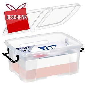Aufbewahrungsbox Cep Strata, für 12 Liter Inhalt, mit Deckel, transparent