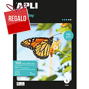 Paquete 100 hojas de papel fotográfico inkjet Apli 11475 - A4 - 180 g/m2