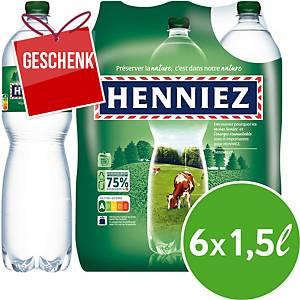 Henniez grün Mineralwasser mit wenig Kohlensäure 1,5 l, Packung à 6 Flaschen