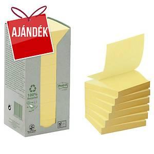 3M Post-it® R330 újrah. öntapadó Z-jegyzettömb, 76x76 mm, sárga, 16 tömb/100 lap
