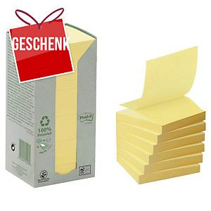 3M Post-it® R330 Haftnotizen recycelt, 76 x 76mm, gelb, 16 Blöcke/100 Blatt