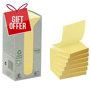 Post It 100 Percent Recycled Z Notes 76 X 76Mm Yellow - Pack Of 16 Pads