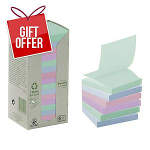 Post It 100 Percent Recycled Z Notes 76 X 76Mm Pastel - Pack Of 16 Pads