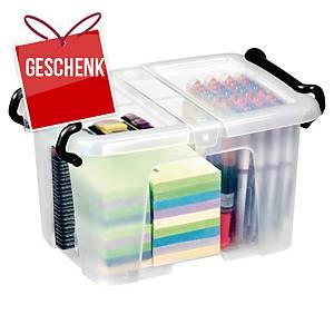 Aufbewahrungsbox Cep Strata, für 6 Liter Inhalt, mit Deckel, transparent