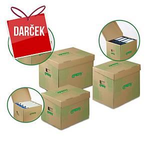 Archivačné úložné krabice Emba, 33 x 30 x 24 cm, prírodné, balenie 10 ks