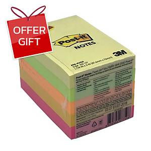 POST-IT 656-4VAD NEON NOTES 2   X 3   - 4 NEON AND 1 YELLOW PAD - PACK OF 5